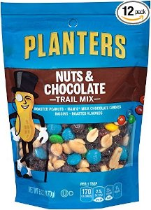 $25.4 Planters Trail Mix, Nuts and Chocolate, 6-Ounce Bags (Pack of 12)