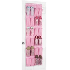 Whitmor 6636-1253 24-Pocke Over-the-Door Shoe Organizer, Pink
