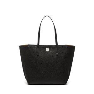 Medium Sophie Top Zip Leather Shopper in Black