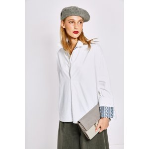 White Shirt With Blue Cuff Detail TP1728