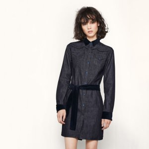 RALLEX Denim dress with velvet details - Dresses - Maje.com