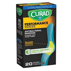 $1.04 Curad Performance Series Extreme Hold Antibacterial Fabric Bandages, 1