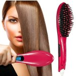 Hair Straightener Brush,Oak Leaf Electric Heating Ceramic Iron Straightening,Anti-Scald Effective Detangling Silky Hair Brush