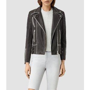 Bixer Piped Leather Biker Jacket
