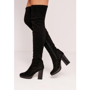 Black Faux Suede Cleated Over The Knee Heeled Boots
