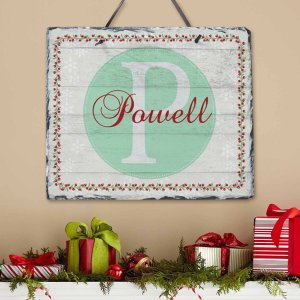 Personalized Holiday Family Initial and Name Slate - Walmart.com