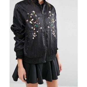 Fashion Union   Fashion Union Satin Bomber Jacket With Embroidery