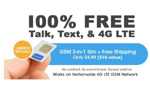 Only $1.99!Mobile Phone Service w/ Global 3-in-1 SIM Kit + Free 1GB Bonus @ FreedomPop