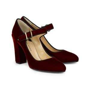 Deep Red Velvet Suleiman Heels | Paul Andrew | Avenue32