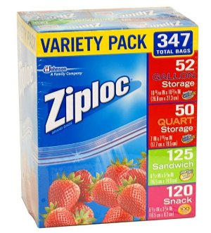 $13.79 Ziploc Gallon, Quart, Sandwich, and Snack Storage Bags - Variety pack - 347 Total
