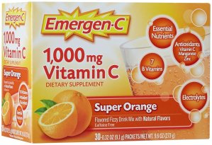 $9.45 Emergen-C Super Orange, 1000 mg of Vitamin C, 0.32 Ounce, 30-Count