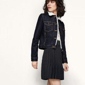 BORINO Denim jacket with faux sheepskin reverse - Coats & Jackets - Maje.com