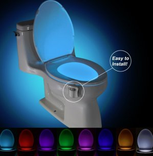 KINGSO LED Toilet Light Sensor Motion Activated Glow Toilet Bowl Light Up Sensing Toilet Seat Night light Inside Bathroom Washroom 8 Color