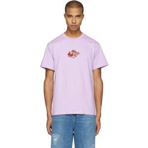 Noah: Purple Embroidered Paisley Logo T-Shirt