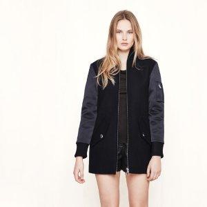 GANDI Mixed material bomber-style coat - Coats & Jackets - Maje.com