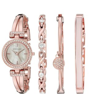 Lowest price! $91.88( reg $175 ) Anne Klein Women's Swarovski Crystal-Accented Rose Gold-Tone Bangle Watch and Bracelet Set