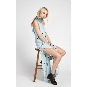 Side Button Dress & Printed Maxi Dress