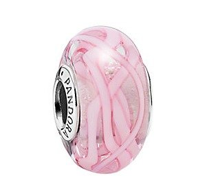 PANDORA Pink Ribbon of Hope Silver Murano Glass Charm @ Rue La La