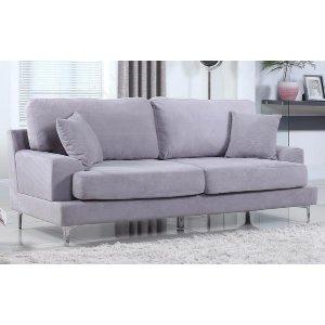 Ultra Modern Plush Velvet Living Room Sofa - Grey - Sofamania