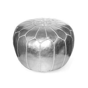 Kenza Moroccan Pouf, Metallic Silver