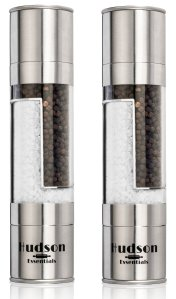 Hudson Deluxe 2 in 1 Salt and Pepper Grinder Set - Ceramic Blade & Stainless Steel - Set of 2 Manual Mills