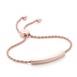 Linear Diamond Chain Bracelet in 18ct Rose Gold Vermeil on Sterling Silver with Diamond | Jewellery by Monica Vinader