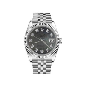 Rolex Datejust Black Mother Of Pearl Diamond Stainless Steel Jubilee Womens 26mm Watch | Rolex | Buy at TrueFacet