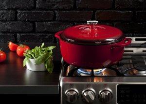 Lodge Color EC7D43 Enameled Cast Iron Dutch Oven, Island Spice Red, 7.5-Quart