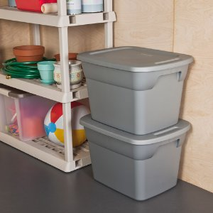 $38.97 Sterilite 18 Gallon Tote Box- Steel (Available in Case of 8 or Single Unit)
