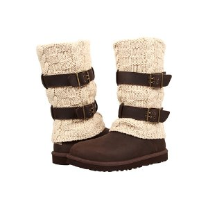 UGG Cassidee Tall Chocolate Leather/Knit