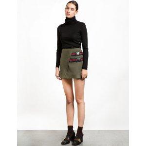 Clip Buckled Olive Mini Skirt