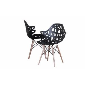 Modern Set of 2 Hollow-Out Style Chair with Natural Wood Legs - Black - Sofamania