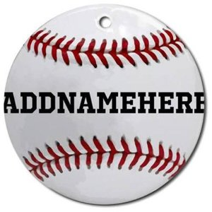 CafePress Personalized Baseball Red/White Ornament, Round - Walmart.com