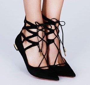 低至4折!入春天穿的平底鞋啦!经典黑色码全! Aquazzura女鞋热卖