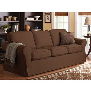 Better Homes and Gardens Slip Cover Sofa, Chocolate Colors