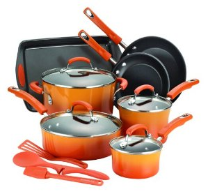 Lowest price! $89.97( reg. $149.99 ) Rachael Ray 14-Piece Hard Enamel Nonstick Cookware Set
