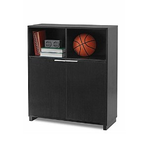 3- Shelf Bookcase with Door in Black