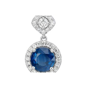 Sapphire and Diamond Mixed Shape Halo Pendant in 14k White Gold | Blue Nile
