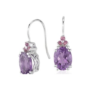 Amethyst and Pink Tourmaline Drop Earrings in Sterling Silver (9x7mm) | Blue Nile