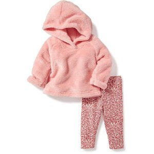 Faux-Fur Hoodie & Printed Legging 2-Piece Set for Baby | Old Navy