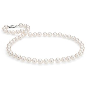 Classic Akoya Cultured Pearl Strand Necklace in 18k White Gold (7.5-8.0mm) | Blue Nile