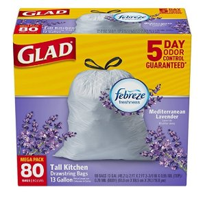 $8.05 Glad OdorShield Tall Kitchen Drawstring Trash Bags, Mediterranean Lavender, 13 Gallon, 80 Count