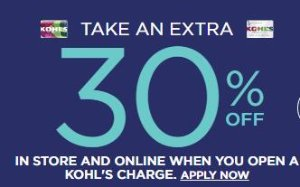 Extra 30% Off For Kohl's Charge Cardholders @ Kohl's