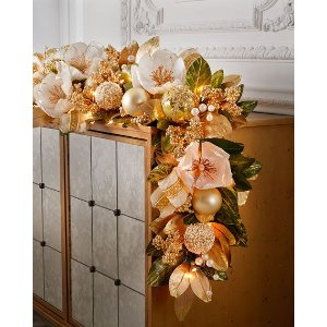 Winter White & Gold Pre-Lit 6' Christmas Garland