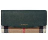 Burberry Porter House Check & Leather Continental Wallet