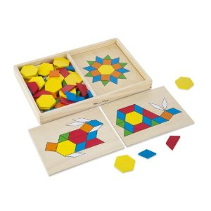 Melissa & Doug Pattern Blocks and Boards - Classic Toy With 120 Solid Wood Shapes and 5 Double-Sided Panels: Melissa & Doug: Toys & Games