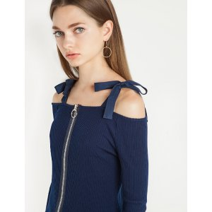 Beverly Off The Shoulder Zip Top by New Revival