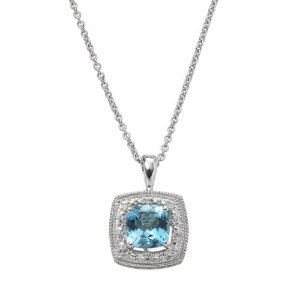 Simply Vera Vera Wang Sterling Silver Blue Topaz and Diamond Accent Halo Pendant
