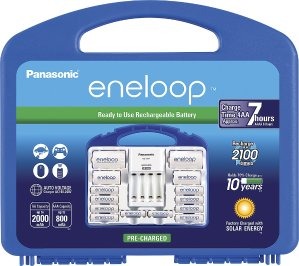 Panasonic eneloop Charger, 8 AA & 2 AAA batteries, 2 C and 2 D Spacers Kit