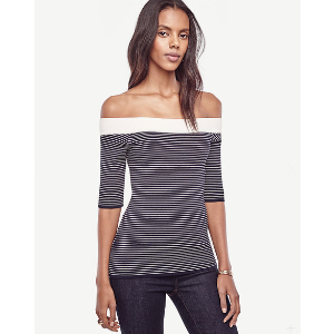 Striped Off The Shoulder Sweater | Ann Taylor